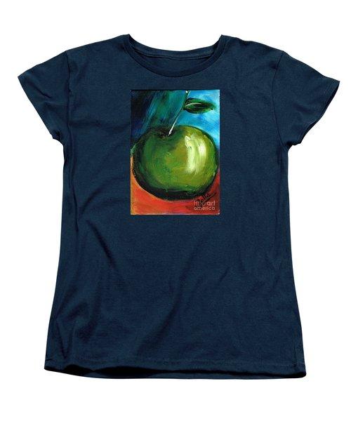 Women's T-Shirt (Standard Cut) featuring the painting Green Apple by Jolanta Anna Karolska