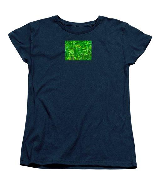 Women's T-Shirt (Standard Cut) featuring the digital art Green Bananas by Jean Pacheco Ravinski