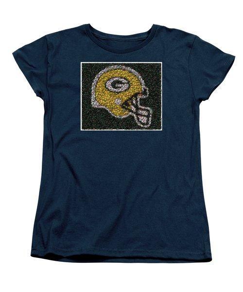 Green Bay Packers Bottle Cap Mosaic Women's T-Shirt (Standard Cut) by Paul Van Scott