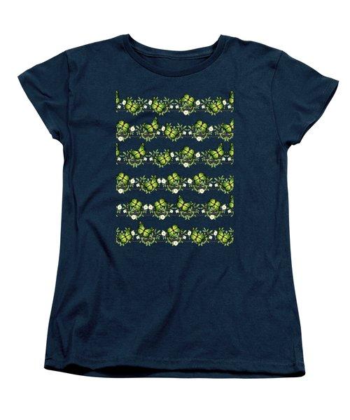Green Butterflies Pattern Women's T-Shirt (Standard Fit)