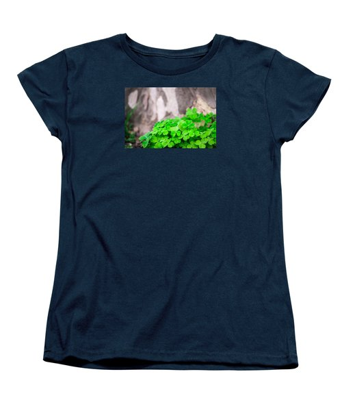 Women's T-Shirt (Standard Cut) featuring the photograph Green Clover And Grey Tree by John Williams