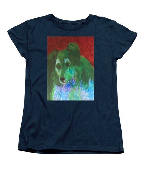 Women's T-Shirt (Standard Cut) featuring the painting Green Collie by Donald J Ryker III