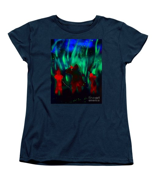 Green Flames In The Night Women's T-Shirt (Standard Cut) by Justin Moore