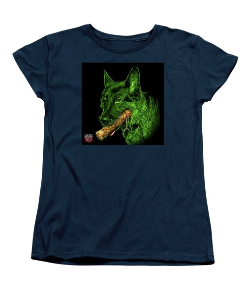 Women's T-Shirt (Standard Cut) featuring the digital art Green German Shepherd And Toy - 0745 F by James Ahn
