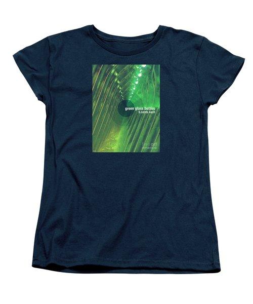 Women's T-Shirt (Standard Cut) featuring the photograph Green Glass Bottles by Phil Perkins