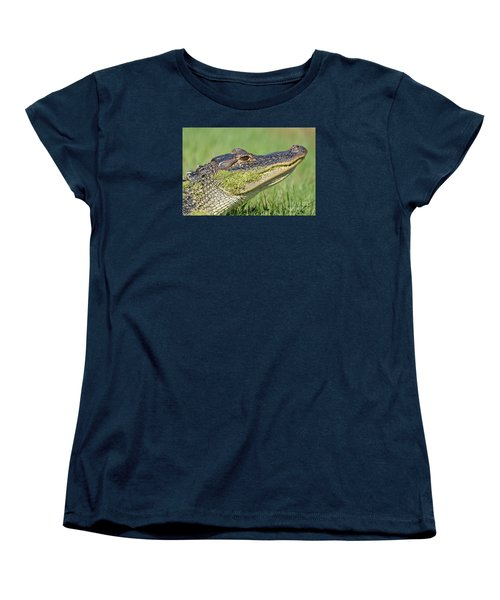Green Grin  Women's T-Shirt (Standard Cut) by Kathy Gibbons