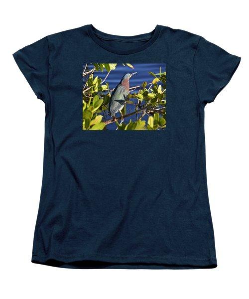 Green Heron Women's T-Shirt (Standard Cut) by Carol Bradley