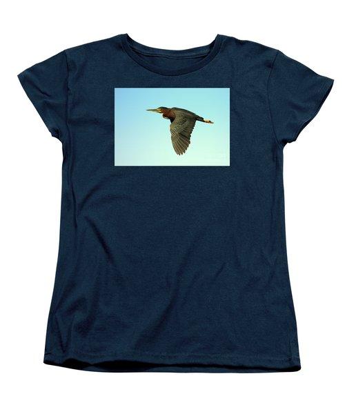 Women's T-Shirt (Standard Cut) featuring the photograph Green Heron Flight by Myrna Bradshaw