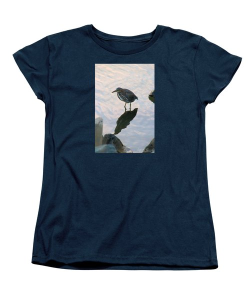 Women's T-Shirt (Standard Cut) featuring the photograph Green Heron In Pink Waters by Robert Banach