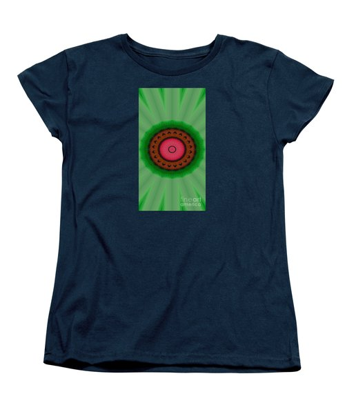 Women's T-Shirt (Standard Cut) featuring the drawing Green Mandala Painting By Sariblle by Saribelle Rodriguez