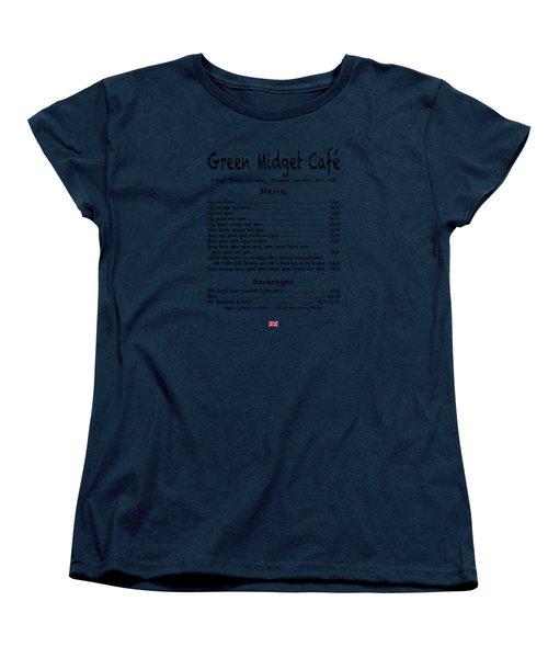 Green Midget Cafe Menu T-shirt Black Letters Women's T-Shirt (Standard Cut)