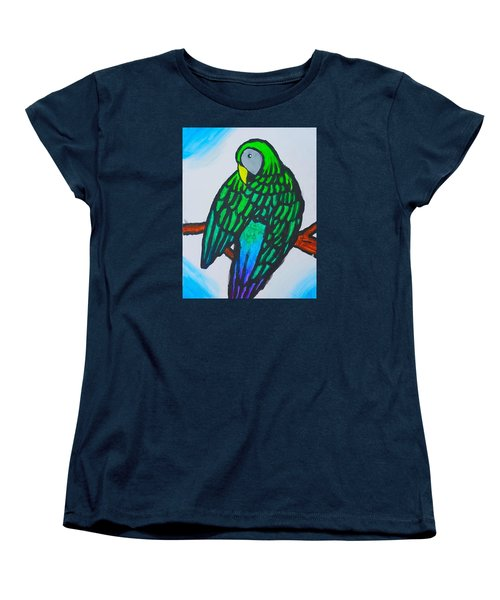Green Parrot Women's T-Shirt (Standard Cut) by Artists With Autism Inc