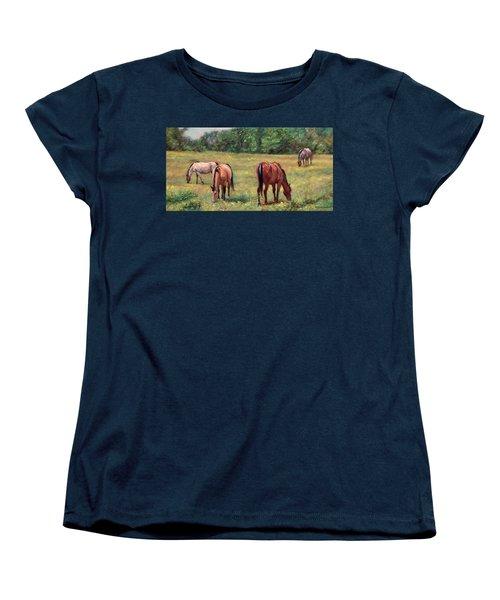 Green Pastures - Horses Grazing In A Field Women's T-Shirt (Standard Cut) by Bonnie Mason