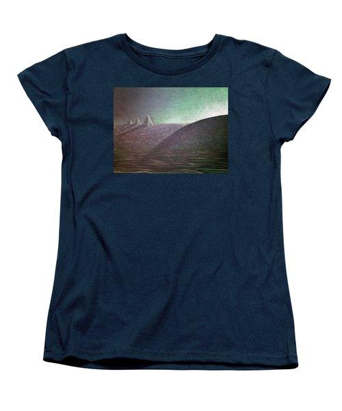 Women's T-Shirt (Standard Cut) featuring the drawing Green Pyramid B by Mayhem Mediums