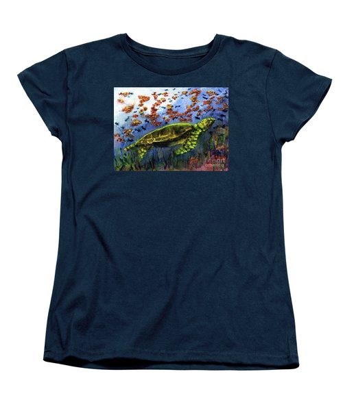 Green Sea Turtle Women's T-Shirt (Standard Cut) by Randy Sprout