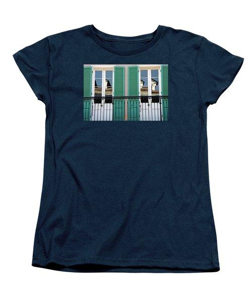 Women's T-Shirt (Standard Cut) featuring the photograph Green Shutters Reflections by KG Thienemann