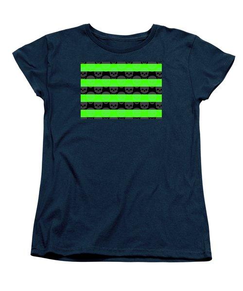 Green Skull Stripes Women's T-Shirt (Standard Cut) by Roseanne Jones