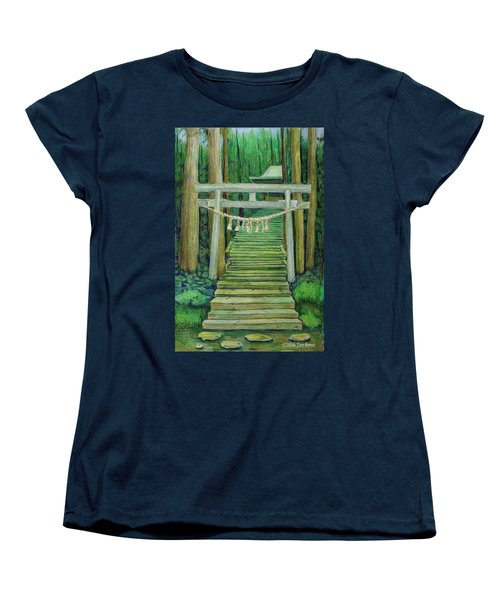 Women's T-Shirt (Standard Cut) featuring the drawing Green Stairway by Tim Ernst