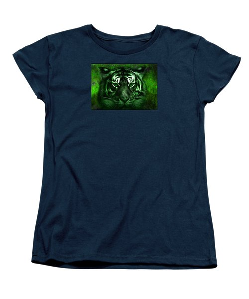 Women's T-Shirt (Standard Cut) featuring the painting Green Tiger by Michael Cleere