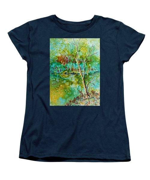 Women's T-Shirt (Standard Cut) featuring the painting Greens Of Late Summer by Carolyn Rosenberger