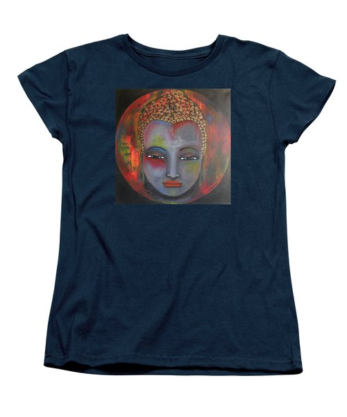 Women's T-Shirt (Standard Cut) featuring the painting Grey Buddha In A Circular Background by Prerna Poojara
