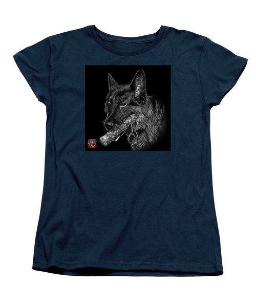 Women's T-Shirt (Standard Cut) featuring the digital art Greyscale German Shepherd And Toy - 0745 F by James Ahn