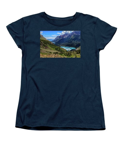 Grinell Hike In Glacier National Park Women's T-Shirt (Standard Cut) by Andres Leon