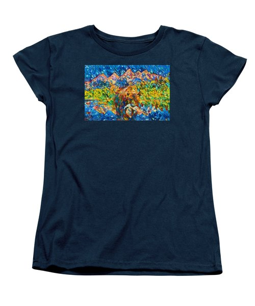 Women's T-Shirt (Standard Cut) featuring the painting Grizzly Catch In The Tetons by Dan Sproul