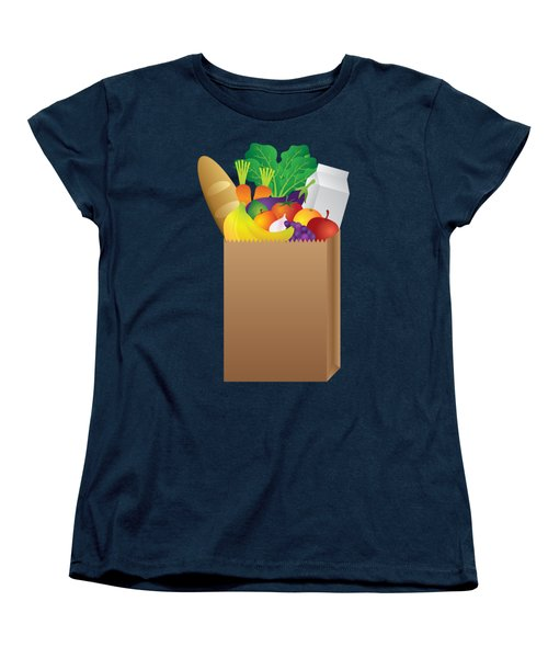 Grocery Paper Bag Of Food Illustration Women's T-Shirt (Standard Cut) by Jit Lim