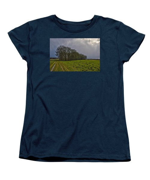 Women's T-Shirt (Standard Cut) featuring the photograph Group Of Trees Against A Dark Sky by Frans Blok