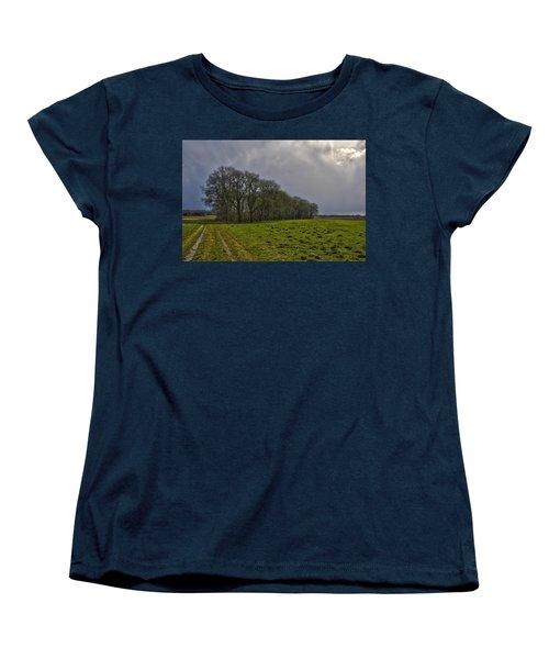Group Of Trees Against A Dark Sky Women's T-Shirt (Standard Cut) by Frans Blok