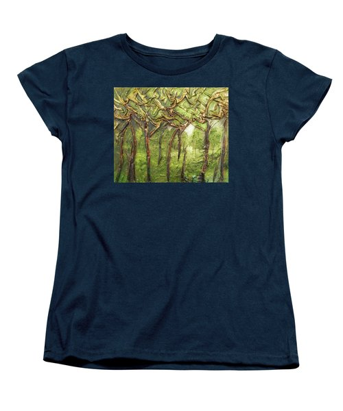 Women's T-Shirt (Standard Cut) featuring the mixed media Grove Of Trees by Angela Stout