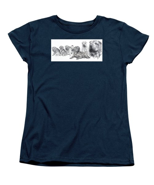 Women's T-Shirt (Standard Cut) featuring the drawing Growing Up Chinese Shar-pei by Barbara Keith