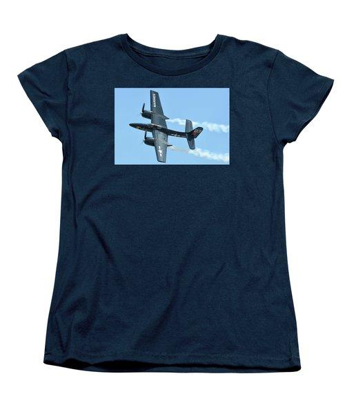 Women's T-Shirt (Standard Cut) featuring the photograph Grumman F7f-3p Tigercat Nx700f Here Kitty Kitty Chino California April 30 2016 by Brian Lockett