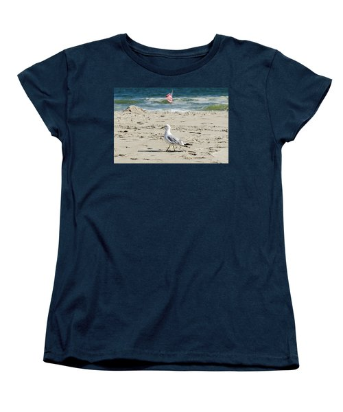 Women's T-Shirt (Standard Cut) featuring the photograph Gull And Flag Rockaway Beach by Maureen E Ritter