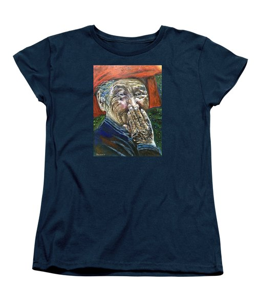 Women's T-Shirt (Standard Cut) featuring the painting H A P P Y by Belinda Low