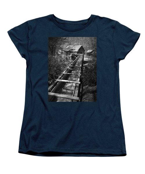 Hagood Gristmill Waterwheel At Hagood Mill Women's T-Shirt (Standard Cut) by Kelly Hazel