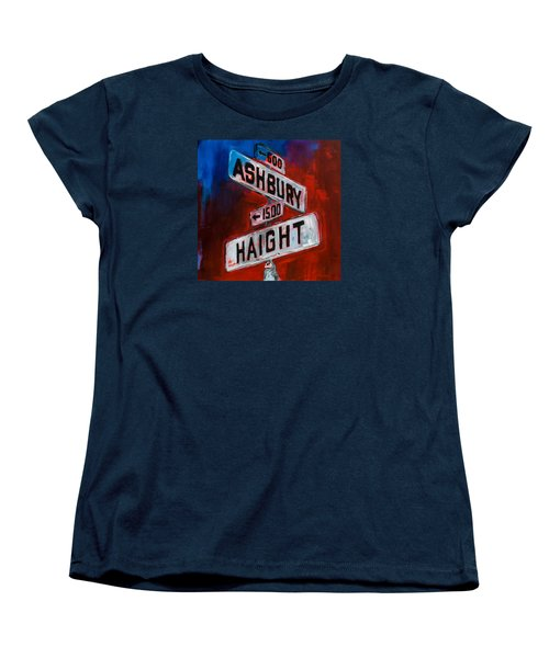 Women's T-Shirt (Standard Cut) featuring the painting Haight And Ashbury by Elise Palmigiani