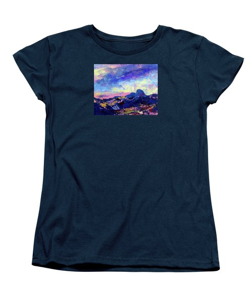 Women's T-Shirt (Standard Cut) featuring the painting Half Dome Summer Sunrise by Walter Fahmy