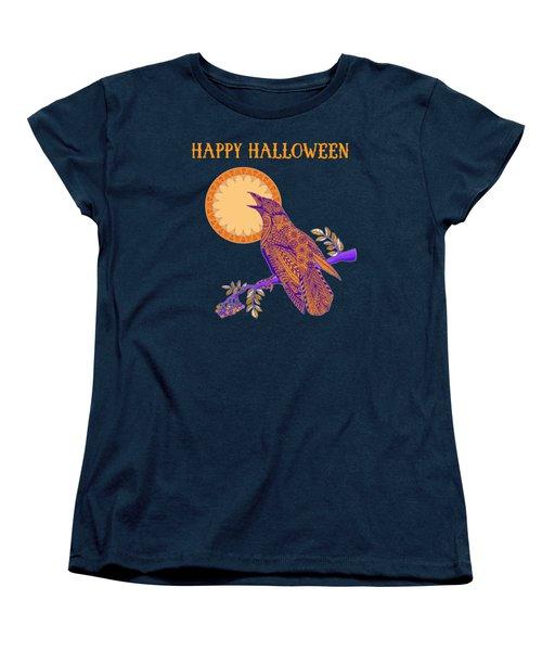 Halloween Crow And Moon Women's T-Shirt (Standard Cut) by Tammy Wetzel