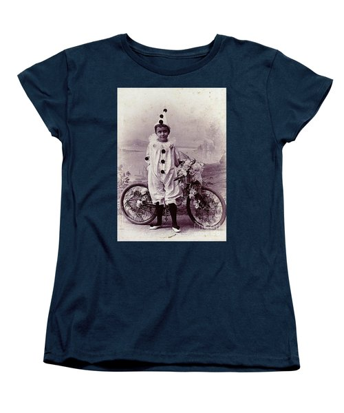 Women's T-Shirt (Standard Cut) featuring the photograph Halloween Pierrot Boy With Antique Bicycle Circa 1890 by Peter Gumaer Ogden