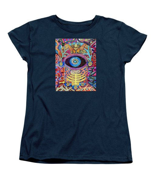 -hamsa Menorah Tree Of Life - Bright Lights  Women's T-Shirt (Standard Cut) by Sandra Silberzweig