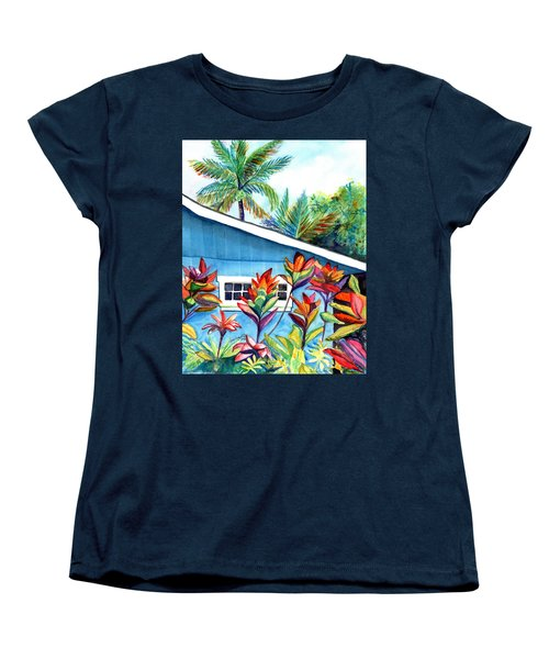 Women's T-Shirt (Standard Cut) featuring the painting Hanalei Cottage by Marionette Taboniar