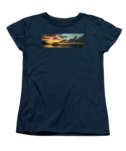Hanalei Pier Sunset Panorama Women's T-Shirt (Standard Cut)