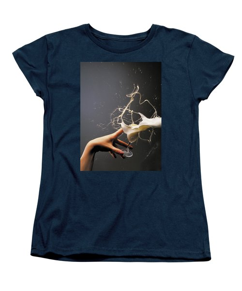 Women's T-Shirt (Standard Cut) featuring the photograph Hand With The Flying Glass Of Liqueur by Evgeniy Lankin