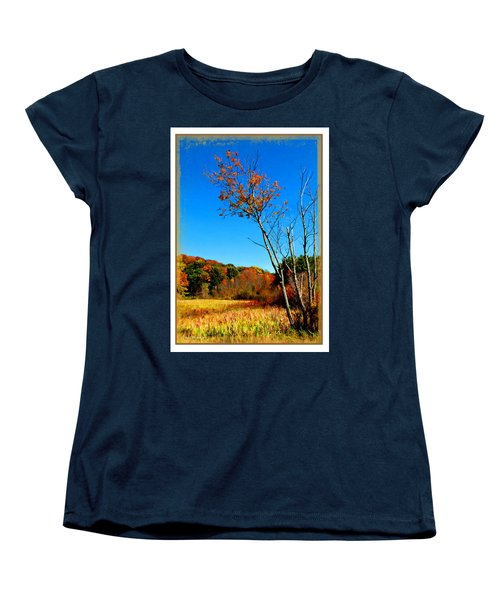 Women's T-Shirt (Standard Cut) featuring the photograph Hanging On To Autumn by Joan  Minchak