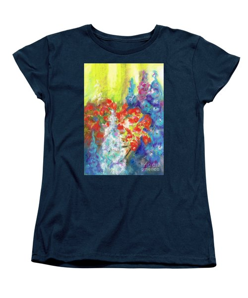 Hanging With The Delphiniums  Women's T-Shirt (Standard Cut) by Frances Marino