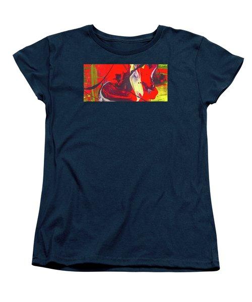 Happy Cow -  Cute Abstract Animals Art Women's T-Shirt (Standard Cut) by Modern Art Prints