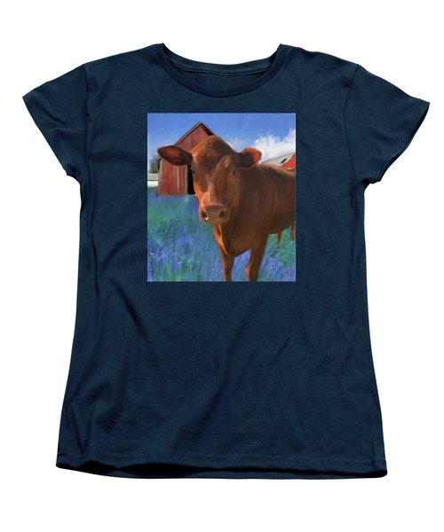 Happy Cow West Marin  Women's T-Shirt (Standard Cut) by Julianne Ososke