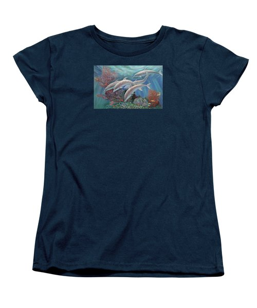 Happy Family - Dolphins Are Awesome Women's T-Shirt (Standard Cut) by Svitozar Nenyuk